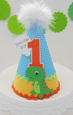 Lil' T-Rex Dinosaur Birthday Party Hat - Blue Polka Dot, Orange, Yellow, Lime Green- Personalized
