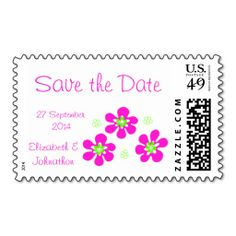 Pink Hibiscus Save the Date custom US postage stamps for beach/tropical wedding