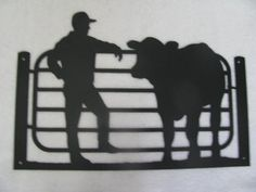 Farmer and His Cow Metal Wall Art Silhouette by by cabinhollow, $65.00