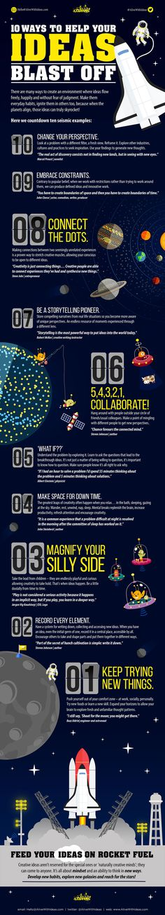 10 Ways to Help Your Ideas Blast Off #Infographic #Space