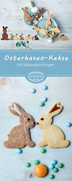 Osterhasen-Kekse - Orangenmürbeteig mit Kakaoabstufungen #osterhase #ostern #rezept