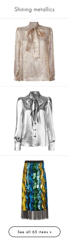 """Shining metallics"" by lolalarose ❤ liked on Polyvore featuring tops, blouses, bow collar blouse, brown tops, long sleeve blouse, long sleeve tops, pussy bow blouse, grey, puff long sleeve blouse and puffy long sleeve blouse"