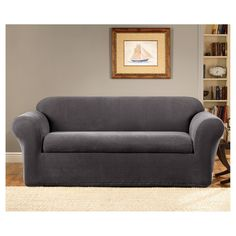 Slipcovers For Sofas Sure Fit Gray Oxford Piece Sofa Slipcover
