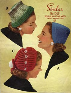 50s Hats Cap Knitting Pattern Vintage Retro