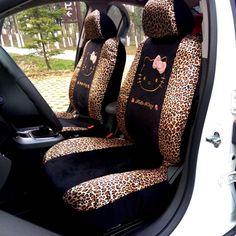 10 개 범용 자동차 시트 커버 leopard 만화 범용 헬로 키티 자동차 시트 커버 유니버설 자동차 인테리어 액세서리