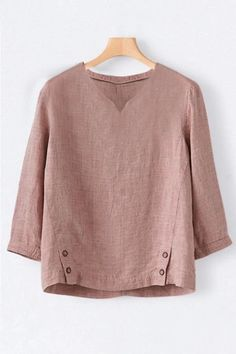Casual Solid Paneled Buttoned V-neck Shirt - fulday Corsage, Creation Couture, Midi Dress With Sleeves, V Neck Blouse, Casual Sweaters, Long Sleeve Sweater, Types Of Sleeves, Clothes For Women, Casual Clothes