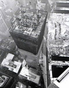 World Trade Center Tower One under construction, Manhattan old brooklyn classic Big Apple vintage New York City prints Images and Photography at Old NYC Photos World Trade Towers, World Trade Center Nyc, Trade Centre, Famous Buildings, Amazing Buildings, Amazing Architecture, North Tower, Vintage New York, Under Construction