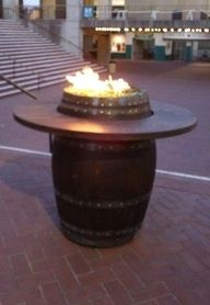 Wine barrel table fire pit