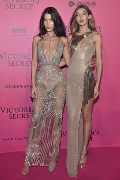 Gigi & Bella Hadid in Versace & Julien McDonald - Red Carpet, Victoria's Secret Fashion Show 2016