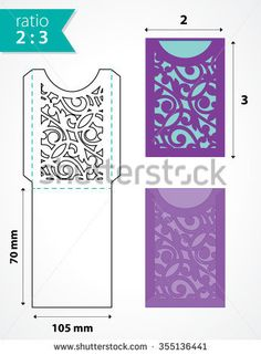 Die cut pocket envelope template with cutout pattern. Wedding invitation pocket envelope. Die cut envelope for an invitation, rsvp, save the date card.