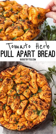 Tomato Herb Pull Apart Bread combines a rich and tangy tomato sauce, savory Parmesan, and fresh bread dough for an irresistible appetizer loaf. #appetizer #bread #fingerfood #partyfood