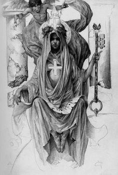 High Priestess by *PaulMellender on deviantART #drawing