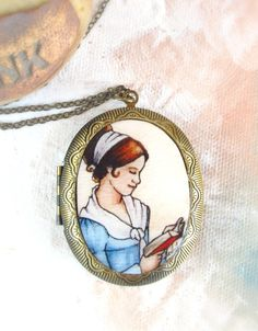 Elizabeth Reading -- Pride and Prejudice Locket, Literary Art Locket by Sarah-Lambert Cook ... $ 40.00