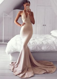 Dark Champagne Mermaid Prom Dress, V Neck Satin