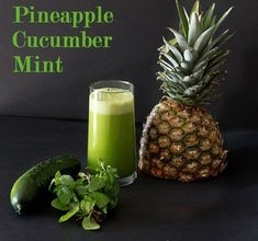 Pineapple Cucumber Mint juice INGREDIENTS=============== 1/2 ripe pineapple 2 cucumbers 1 bunch of mint DIRECTIONS================ 1 - core and peel pineapple, peel cucumber 2 - chop fruit so they fit in your juicer 3 - juice everything 4 - shake/stir well, and enjoy!