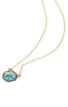 000f318eb Turquoise-Howlite Hexagon Pendant Necklace | Etsy
