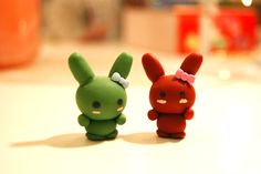 Polymer Clay Christmas Rabbit Twins for the holidays!