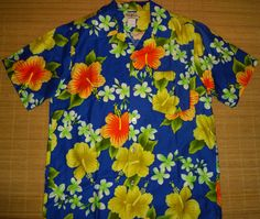 Mens Vintage 70s Hukilau Tiki Hawaiian Shirt  L  The Hana