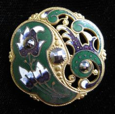 Victorian Enamel and Open Brass Work Button with Marcasites - For sale on Ruby Lane