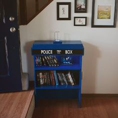 Check out this homecrafted Tardis inspired Doctor Who bookshelf with light up top. The perfect geeky addition to any home!