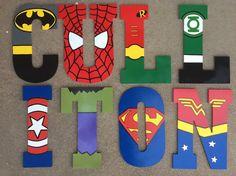Letras de madera de superhéroe superhéroe por KidMuralsbyDanaR Painted Wood Letters, Wooden Letters, Painting Letters, Kid Painting, Superhero Letters, Diy Letters, Diy And Crafts, Crafts For Kids, Safari Decorations