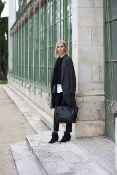 Skinny scarf - leather pants - céline mini luggage - grey wool coat - womens fashion - fall fashion
