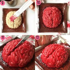 Step by Step Tutorial on how to make a Halloween Brain Cake Halloween is just round the corner. Have you thought of your trick or treat surprise dessert? If not I have one idea that might scare . Dessert Halloween, Fete Halloween, Halloween Dinner, Halloween Food For Party, Halloween Birthday, Halloween Treats, Halloween Potluck Ideas, Halloween 2019, Mörderische Dinnerparty