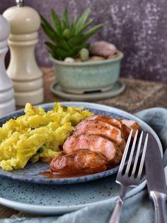 Vepřová panenka se švestkovou omáčkou Sausage, French Toast, Food And Drink, Meat, Chicken, Dinner, Healthy, Breakfast, Recipes