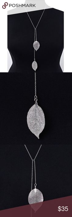 e61137c26 ✨New✨Leaf Pendant Y Necklace The detail on the silver leaf pendants  definitely steal