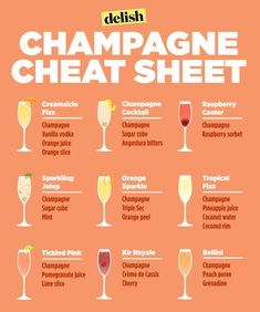 Genius Hacks That Will Change How You Eat Breakfast Make yourself a freaking delicious brunch beverage on the weekends with this champagne cheat sheet.Make yourself a freaking delicious brunch beverage on the weekends with this champagne cheat sheet. Party Drinks, Fun Drinks, Yummy Drinks, Alcoholic Drinks, Nye Party, Wine Parties, Basic Bar Drinks, Brunch Drinks, Wine Tasting Party