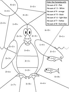 number flowers  coloring sheets | Coloring & Activity Pages: Penguin Color-By-Math