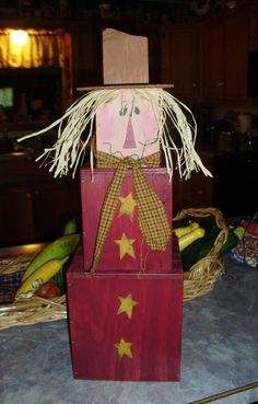 Wood Pattern for Seasonal Fall Scarecrow Stak (FreeShipUS) Primitive Wood Crafts, Fall Wood Crafts, Wood Block Crafts, Autumn Crafts, Thanksgiving Crafts, Wooden Crafts, Holiday Crafts, Primitive Fall, Primitive Christmas