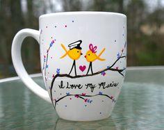 Yellow Ribbon Love Birds- I love my Marine Mug