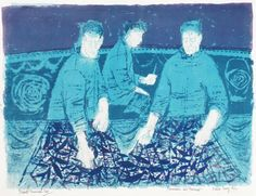 """Fishermen with Baskets"" by Robert Tavener, 1960 (lithograph)"
