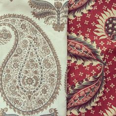 Jasper Fabric Indian block prints:  Kashimir in Taupe & Remy in Red - via Dominic Touwen