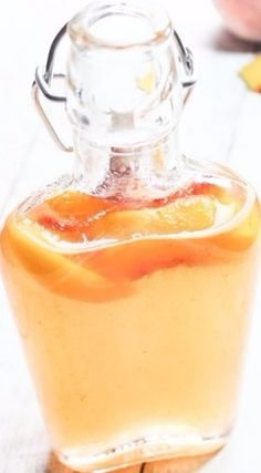 Homemade Peach Simple Syrup Recipe ~ You can use it in baking when it calls for a sweetener, toss it lightly with fruit salad to give it a bit of a kick, make a delicious sorbet sweetener with fresh fruit, and cocktails.