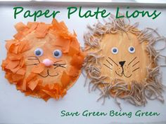 3 Different Ideas fpr Paper Plate Lion Crafts, or maybe Daniel Tiger - fun and easy project for kids and preschool