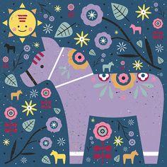 Lilac Dala Horse for Colour Collective/Illustration
