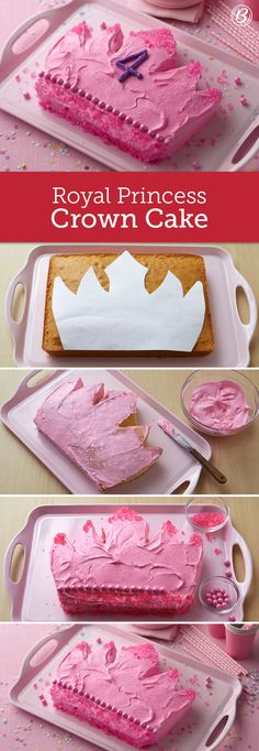 Cutting this cake shape is easier than it looks, and rock candy and decorator sugar make it really sparkle. If your princess isn't so keen on pink, feel free to use another color scheme. Click through for the downloadable template and a step-by-step video!