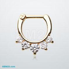 Dainty Golden Glistening Precia Multi-Gem Septum Clicker