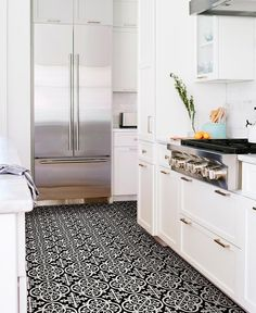 Make a statement with these bold black and white floor tiles. The gothic-style motif is simply stunning. FloorPops Gothic Peel & Stick Floor Tiles Set of 2 contains 20 pieces on 20 sheets that each measure 12 x 12 inches. Vinyl Tile Flooring, Vinyl Tiles, Bathroom Flooring, Kitchen Flooring, Hallway Flooring, Brass Bathroom, Bathroom Hardware, Downstairs Bathroom, Grey Bathrooms