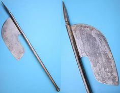 Indian tabar (axe) is of quite an unusual shape. The blade is 10 inches long, 4 inches wide, well forged from good high carbon steel. Steel haft 23 inches long, terminating with a 3 1/2 inches spike. http://www.oriental-arms.com/