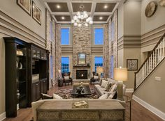 Toll Brothers - The Hampton Georgian Family Room - Toll Brothers – The Hampton Georgian Family Room - Family Room Decorating, Family Room Design, Interior Decorating, Interior Design, High Ceiling Decorating, High Ceiling Living Room, My Living Room, Home And Living, Style At Home