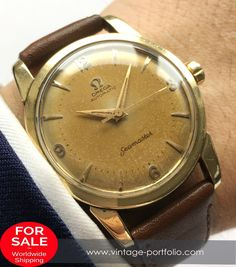 - Automatic Movement with Center Second - Yellow Gold Plated Case - 34 mm diameter (w/o crown) - Years of Construction: 1954 1955 1956 Omega Seamaster Automatic, Vintage Omega, Vintage Watches, Vintage Black, Omega Watch, Watches For Men, Classic, Accessories, Watches