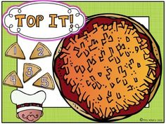 """Use """"Top It"""" as a math center game. Roll a die (or two), count the dots and put the correct number of unifix cubes on your pizza. Now let your frie. Dice Games, Math Games, Math Activities, Maths, Activity Centers, Math Centers, Teachers Pay Teachers Freebies, Roll A Die, Preschool Food"""