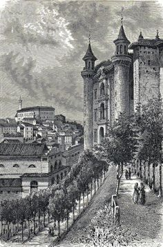 Antique woodcut print The Ducal Palace of Urbino Italy 1878 Italia stampa antica
