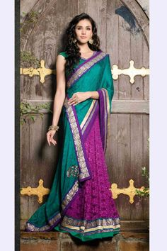 Blue and Purple Jacquard,Chiffon and Net Saree with Embroidered and Lace Work - Z1422P4442-7 #sarees #partywear #partywearsarees #sareesonline