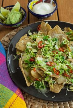 Brussels Sprouts Nachos (add some black beans, corns, etc. Mexican Food Recipes, Healthy Recipes, Ethnic Recipes, Nacho Recipes, Healthy Meals, Nachos, Appetizer Recipes, Appetizers, Sprout Recipes