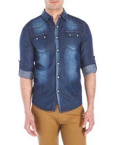 Mens Casual Button Up & Button Down Shirts Casual Button Down Shirts, Denim Button Up, Button Up Shirts, Denim Shirts, Men Casual, Jeans, Mens Tops, Outfits, Clothes