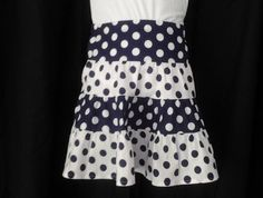 Size 5 -  tiered skirt in navy and white